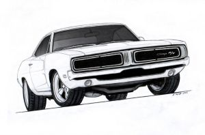 1969 Dodge Charger R/T Pro Touring Drawing by Vertualissimo
