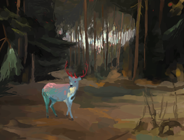 majestic deer in a wood by quagmaier