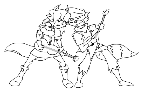 Sly and Carm Rock Out lineart by foxzombiej