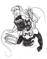Wonder Girl and Blue Beetle Sketch by msciuto