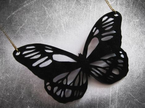 Black Butterfly Necklace by BenjiiBen