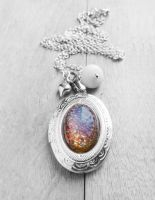 Fire Opal Oval Cabochon Silver Locket Necklace by crystaland