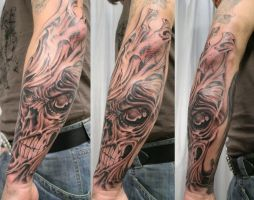 Skull Face Horror Tattoo by 2Face-Tattoo