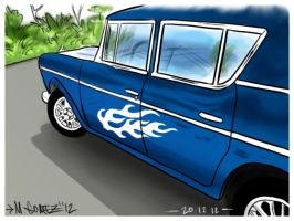 Blue Flame Car by Insanemoe