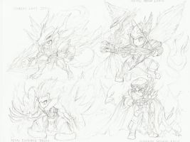 Brave Frontier - 6* Mistral Units Sketches by RaptorTheHawk