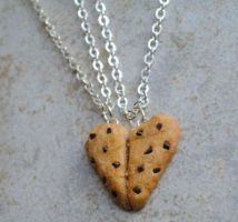 Heart Chocolate Chip Cookie Friendship Necklaces by ClayRunway