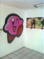 kirby on wall by vampxda