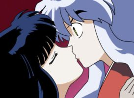 inuyasha and kikyou kiss by Punisher134