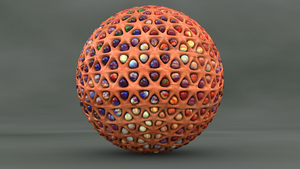 Honeycomb sphere filled with beads. by mlindeart