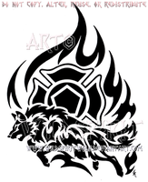Firefighter Tribal Flame Wolf Design by WildSpiritWolf