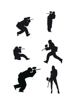 Paintball players silhouettes by theSASTA