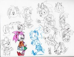 2015-Amy Rose Fun-Bunny Amy sketches by spongefox