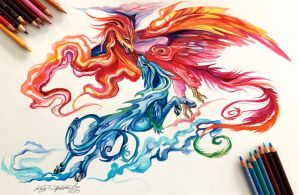 131- Kirin and Phoenix by Lucky978