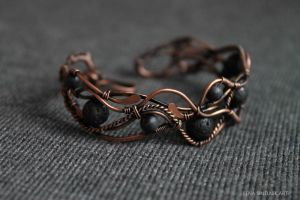 Copper bracelet with lava by Schepotkina