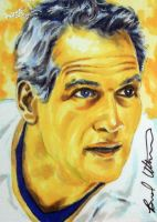 Paul Newman slap shot Leaf Hockey sketch card by therealbradu