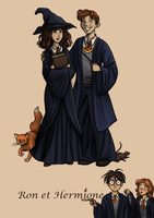 Ron and Hermione by AzaleasDolls