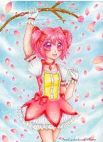 Pink Flowered Madoka by AikasCupcake