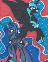 Luna and Nightmare Moon Commission by PonyGoddess