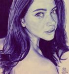 Ballpoint pen drawing of Thai actress Davika Hoorn by chaseroflight