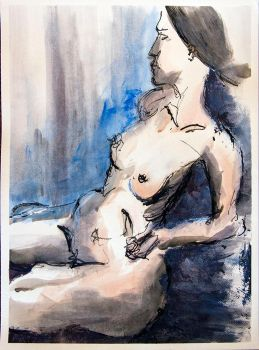 Reclining Lady on Blue 2 by futsume