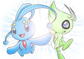 Manaphy and Celebi by Vermeilbird