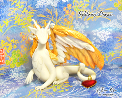 Goldwing dragon with heart by rosepeonie