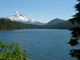 Mt Hood and Hiyu Mountain over Lost Lake by boxcamera