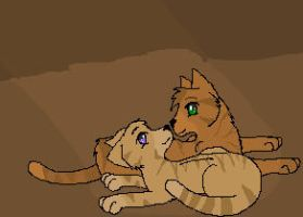 Heathertail and Lionblaze by Blixemi