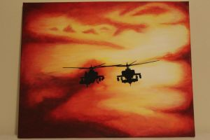 Apache Helicopter Sunset by CplSarCia