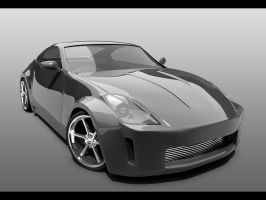 350Z - Black and White by ragingpixels