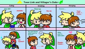 Toon Link and Villager's Date by LinkHimekawa