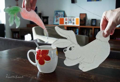 Easterbunny with OCD (Obsessvie Coffee Disorder) by Hattifant