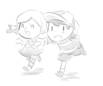 SMB- Villager and Ness by Bellaceline122
