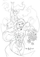 Phoenix and Emma Frost pencil by qualano