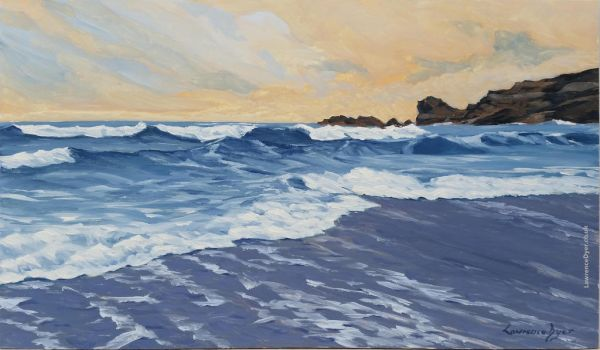 Crooklets Beach Bude Art Painting Original by LawrenceDyer