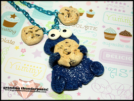Cookie Monster Necklace by GrandmaThunderpants