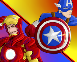 The Avengers- Captain America and Iron Man by fluffpuffgerbil