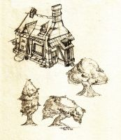 house and trees by floopate