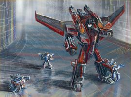 Starscream and minicons by darefi