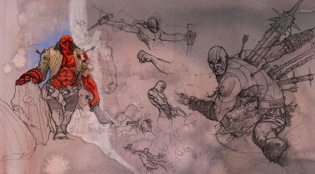 Hellboy and Kratos by ricktroula
