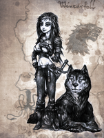Arya Stark and Nymeria by BaseDesire