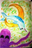 Narwhal Jumping Over The Moon by VampyreCupcake