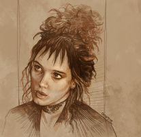 Daily Sketch 02: Winona Ryder in Beetlejuice by artandwine365