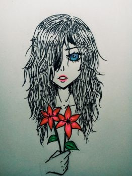 girl-red flowers-sad-inspired by MachiavelliArcane