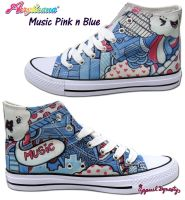 Music Pink n Blue High Tops by marywinkler