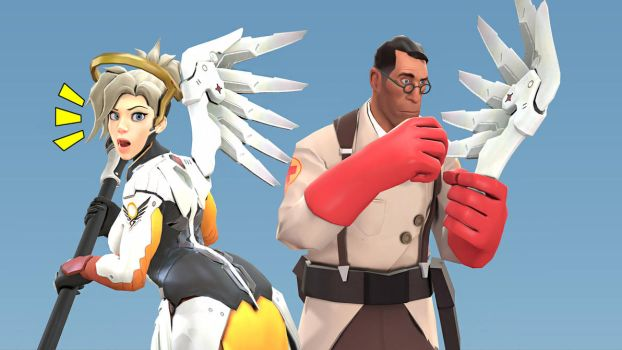 Overwatch Mercy and TF2 medic (SFM) by DarknessRingoGallery