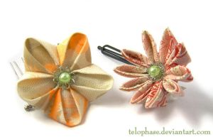 Kanzashi - Peach and Red by telophase