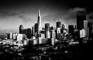 San Fran Sky Line BW by Un-known-Artist