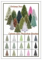 Free Christmas Trees Photoshop Brushes plus Cutout by ibjennyjenny