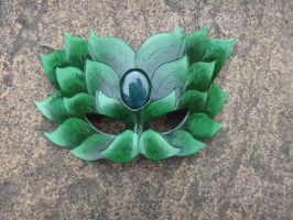 Green Man leather mask by Masktastic